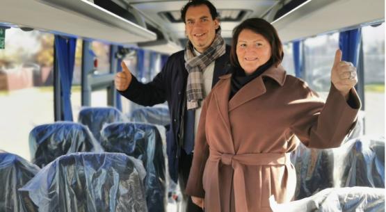 """UAB """"Šalčininkų autobusų parkas"""" įsigijo Lietuvoje dar nematytą autobusą"""